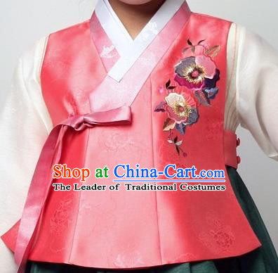 Asian Korean Traditional Handmade Formal Occasions Girls Costume Embroidered Pink Vests Hanbok Clothing for Kids