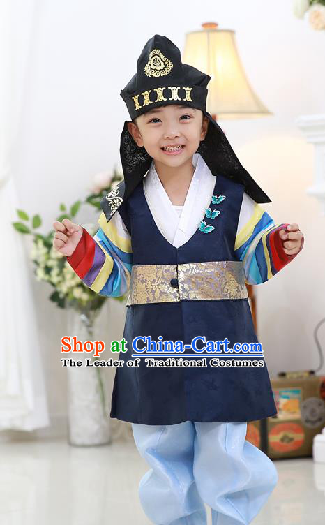 Asian Korean National Traditional Handmade Formal Occasions Embroidered Thronfolger Costume Wedding Navy Hanbok Clothing for Boys