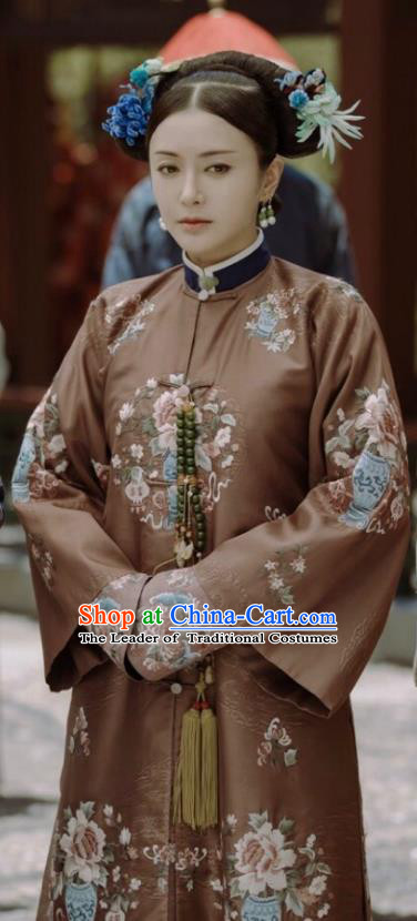 Traditional Ancient Chinese Qing Dynasty Imperial Concubine Costume, Chinese Manchu Lady Embroidered Clothing for Women