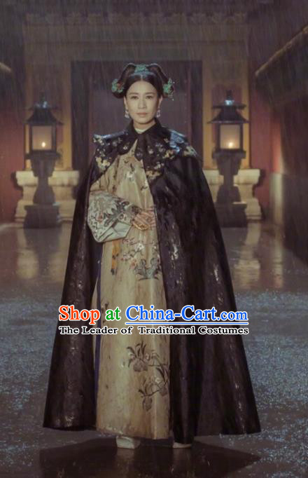 Traditional Ancient Chinese Qing Dynasty Imperial Empress Costume, Chinese Manchu Lady Queen Embroidered Clothing for Women
