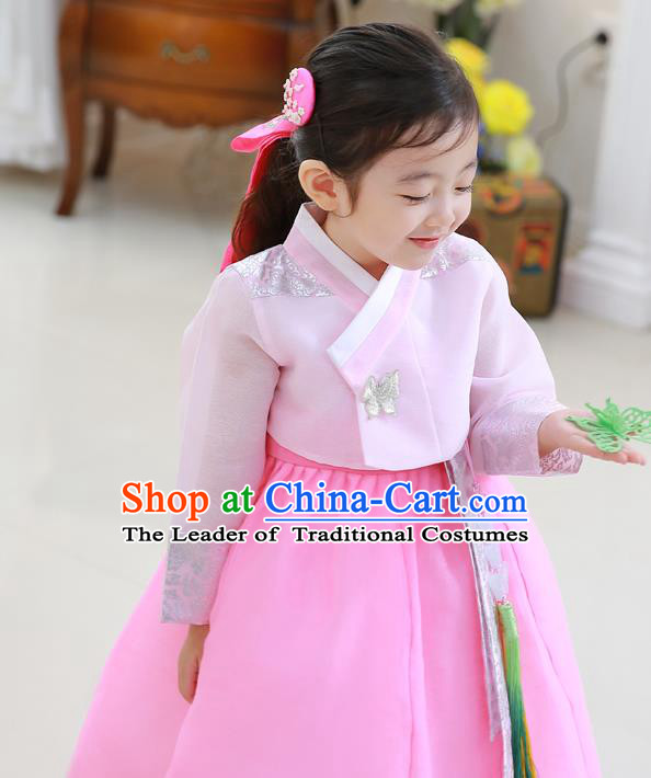 Asian Korean National Traditional Handmade Formal Occasions Girls Embroidery Hanbok Costume Pink Blouse and Dress Complete Set for Kids