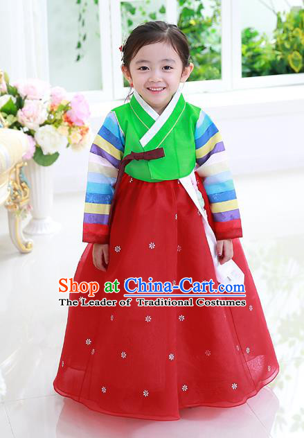 Asian Korean National Traditional Handmade Formal Occasions Girls Embroidery Hanbok Costume Green Blouse and Red Dress Complete Set for Kids