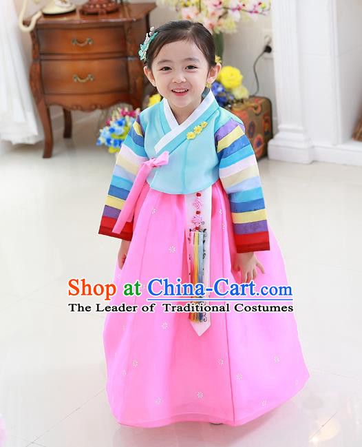 Asian Korean National Traditional Handmade Formal Occasions Girls Embroidery Hanbok Costume Blue Blouse and Pink Dress Complete Set for Kids