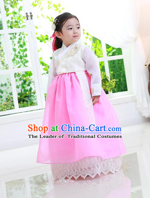 Asian Korean National Traditional Handmade Formal Occasions Girls Embroidery Hanbok Costume White Lace Blouse and Dress Complete Set for Kids