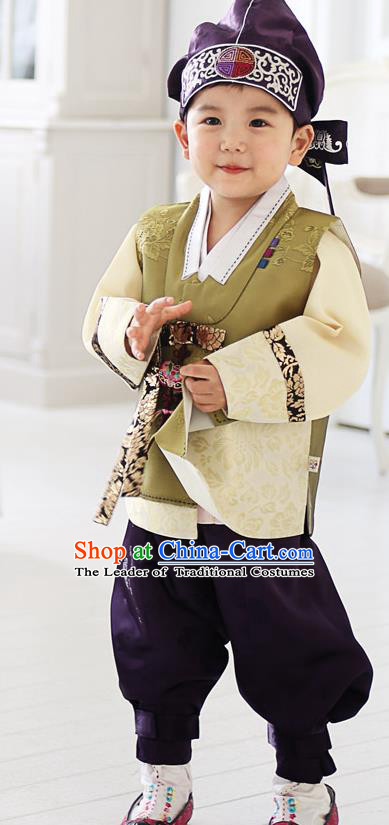 Asian Korean National Traditional Handmade Formal Occasions Boys Embroidery Olive Green Hanbok Costume Complete Set for Kids