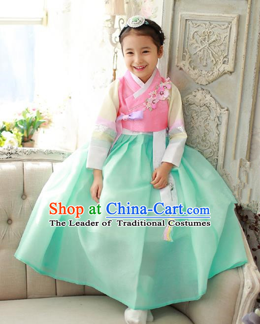 Traditional Korean National Handmade Formal Occasions Girls Hanbok Costume Embroidery Pink Blouse and Green Dress for Kids