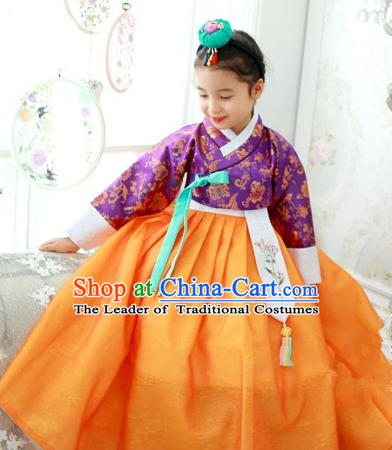 Traditional Korean National Handmade Formal Occasions Girls Hanbok Costume Embroidered Purple Blouse and Yellow Dress for Kids