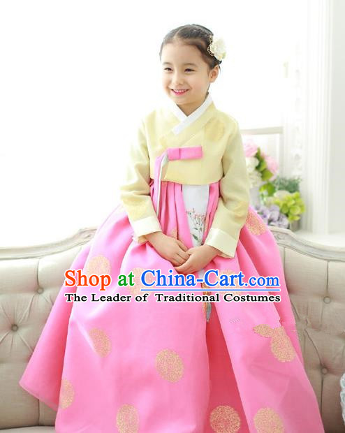 Traditional Korean National Handmade Formal Occasions Girls Hanbok Costume Embroidered Yellow Blouse and Pink Dress for Kids
