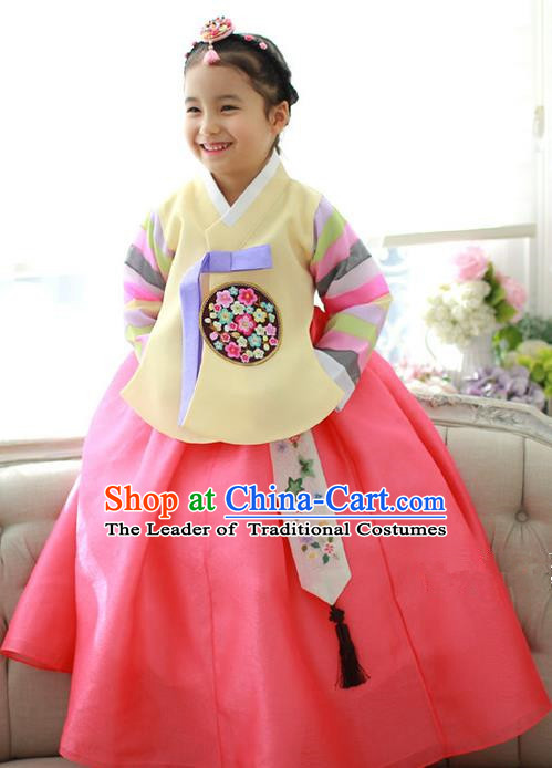 Traditional Korean National Handmade Formal Occasions Girls Hanbok Costume Embroidered Yellow Blouse and Watermelon Red Dress for Kids