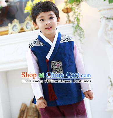 Asian Korean National Traditional Handmade Formal Occasions Boys Embroidery Deep Blue Hanbok Costume Complete Set for Kids