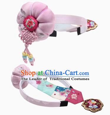 Traditional Korean Hair Accessories Pink Hair Clasp, Asian Korean Hanbok Fashion Headwear Hanbok Headband for Kids