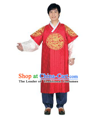 Korean National Traditional Handmade Wedding Embroidery Hanbok Costume, Asian Korean Bridegroom Red Dragon Robe for Men