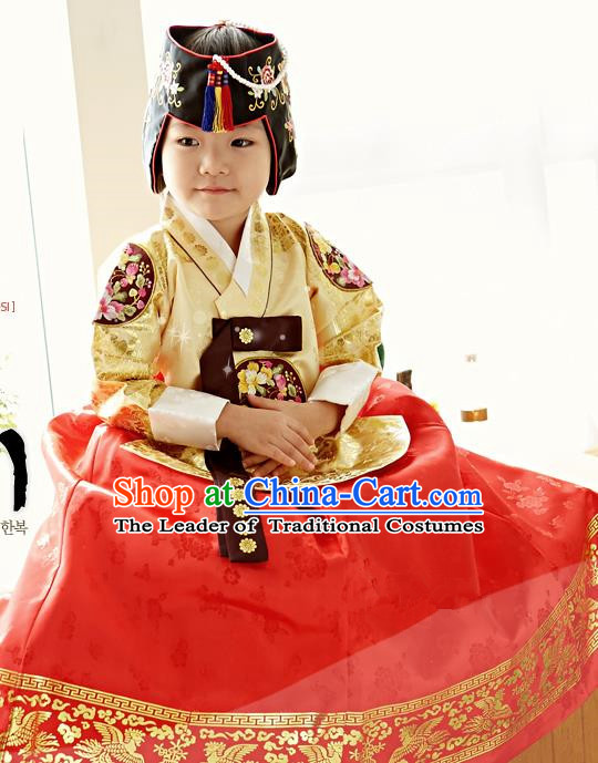 Traditional Korean National Handmade Formal Occasions Girls Palace Hanbok Costume Embroidered Yellow Blouse and Red Dress for Kids