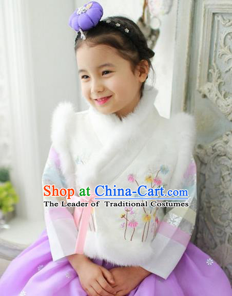 Traditional Korean National Handmade Formal Occasions Girls Palace Hanbok Costume Embroidered White Vest for Kids