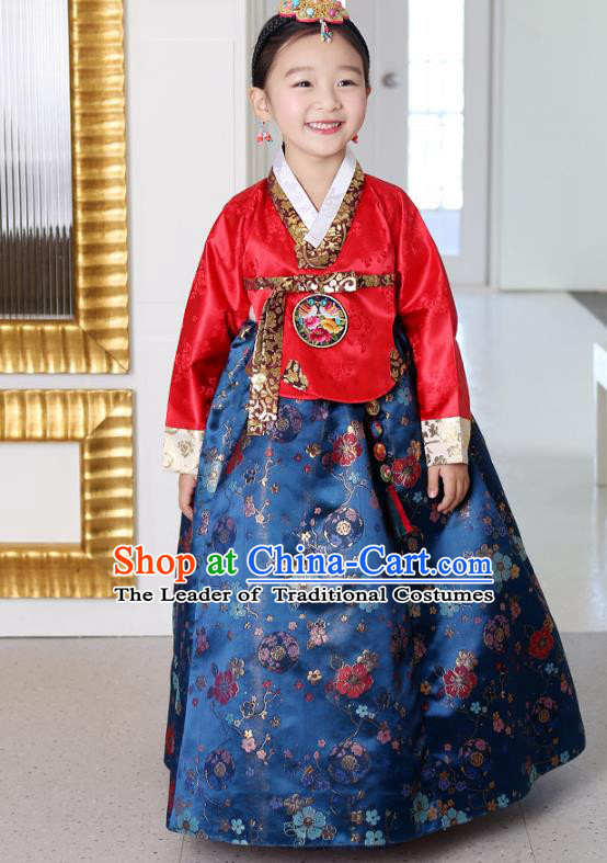 Traditional Korean National Handmade Formal Occasions Girls Palace Hanbok Costume Embroidered Red Blouse and Navy Dress for Kids