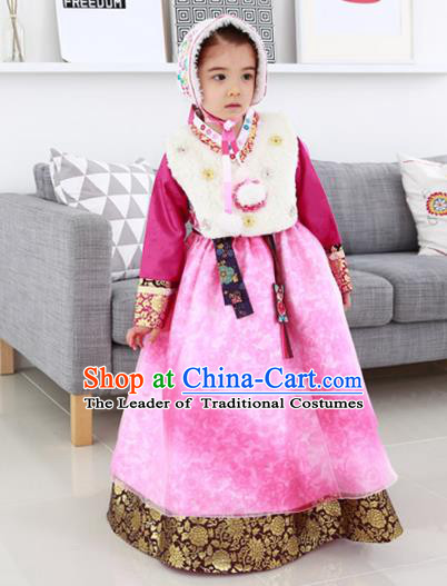 Traditional Korean National Handmade Formal Occasions Girls Palace Hanbok Costume Embroidered Red Blouse and Pink Dress for Kids