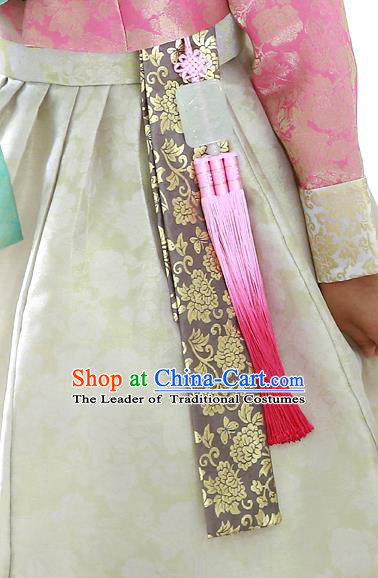 Traditional Korean Accessories Jade Waist Pendant, Asian Korean Fashion Wedding Pink Tassel Waist Decorations for Women