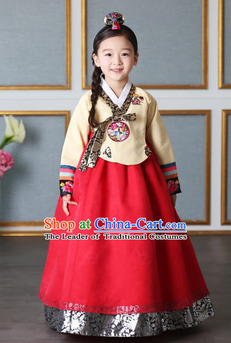 Asian Korean National Traditional Handmade Formal Occasions Girls Embroidery Hanbok Costume Yellow Blouse and Red Dress Complete Set for Kids