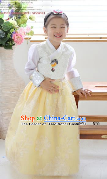 Asian Korean National Traditional Handmade Formal Occasions Girls Embroidery Hanbok Costume White Blouse and Yellow Dress Complete Set for Kids