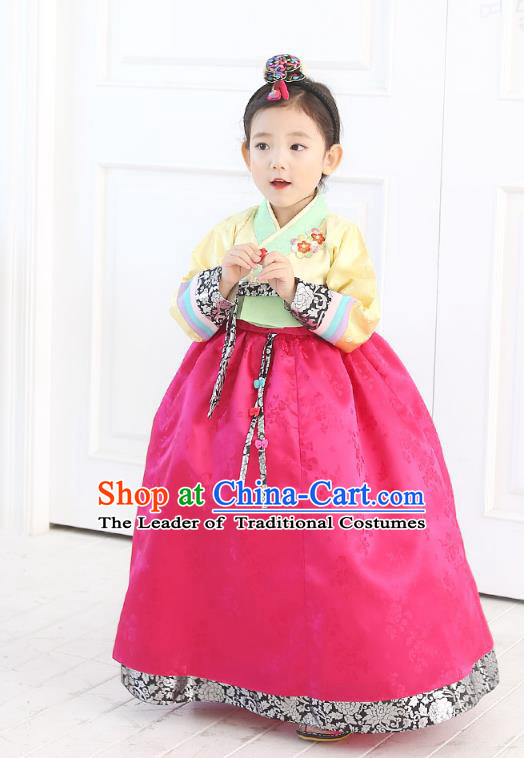Traditional Korean National Handmade Formal Occasions Girls Embroidery Hanbok Costume Yellow Blouse and Pink Dress Complete Set for Kids