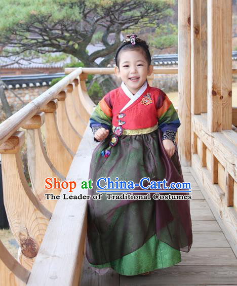Traditional Korean National Handmade Formal Occasions Girls Embroidery Hanbok Costume Red Blouse and Green Dress Complete Set for Kids