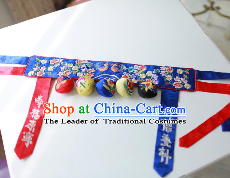 Traditional Korean Accessories Embroidered Flowers Blue Waist Belts, Asian Korean Fashion Hanbok Waistband Decorations for Kids