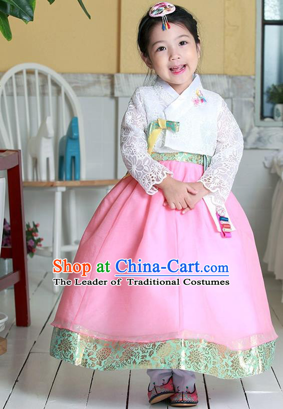 Traditional Korean National Handmade Formal Occasions Girls Hanbok Costume Embroidered White Lace Blouse and Pink Dress for Kids