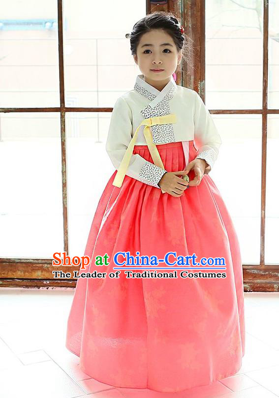 Traditional Korean National Handmade Formal Occasions Girls Hanbok Costume Embroidered White Blouse and Orange Dress for Kids