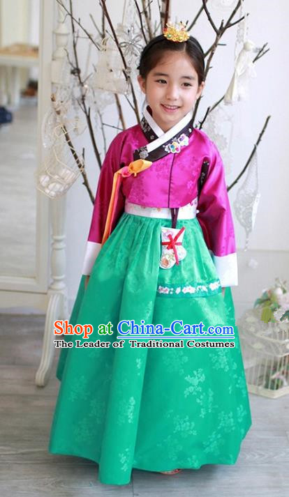 Traditional Korean National Handmade Formal Occasions Girls Hanbok Costume Embroidered Rosy Blouse and Green Dress for Kids