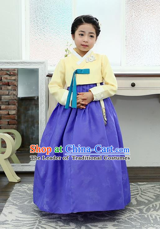 Traditional Korean National Handmade Formal Occasions Girls Hanbok Costume Embroidered Yellow Blouse and Blue Dress for Kids