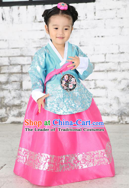 Traditional Korean National Handmade Formal Occasions Embroidered Blue Blouse and Pink Dress Girls Palace Hanbok Costume for Kids