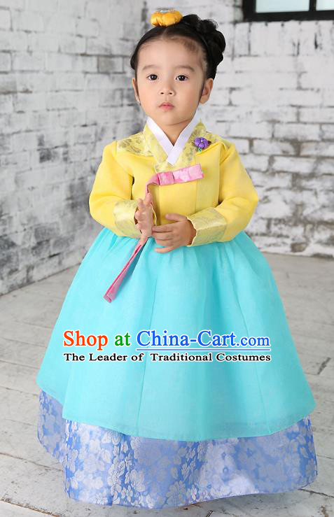 Traditional Korean National Handmade Formal Occasions Embroidered Yellow Blouse and Blue Dress Girls Palace Hanbok Costume for Kids