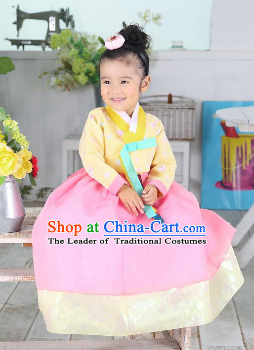 Traditional Korean National Handmade Formal Occasions Embroidered Yellow Blouse and Pink Dress Girls Palace Hanbok Costume for Kids