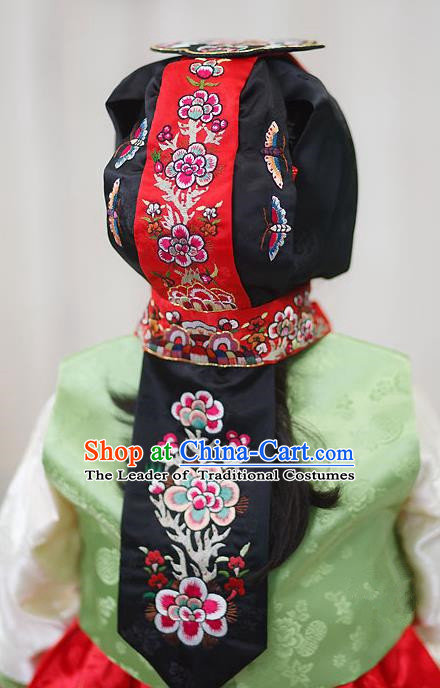 Traditional Korean Hair Accessories Bride Embroidered Black Hats, Asian Korean Fashion Hanbok Headwear for Girls