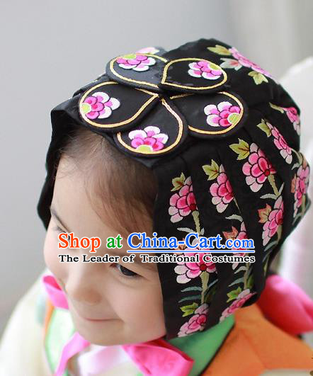 Traditional Korean National Hair Accessories Bride Embroidered Black Hats, Asian Korean Fashion Hanbok Headwear for Girls