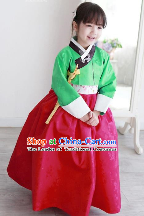 Korean National Handmade Formal Occasions Embroidered Green Blouse and Red Dress Hanbok Costume for Kids