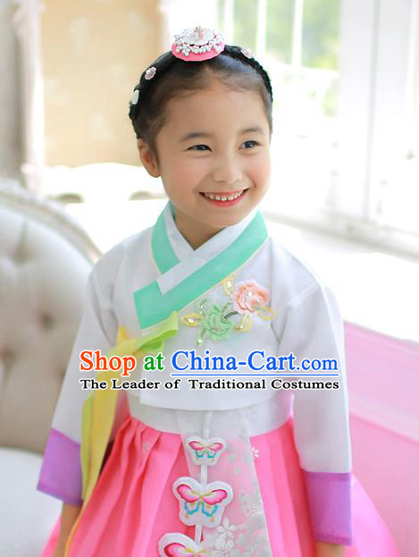 Asian Korean National Handmade Formal Occasions Embroidered White Blouse Hanbok Costume for Kids