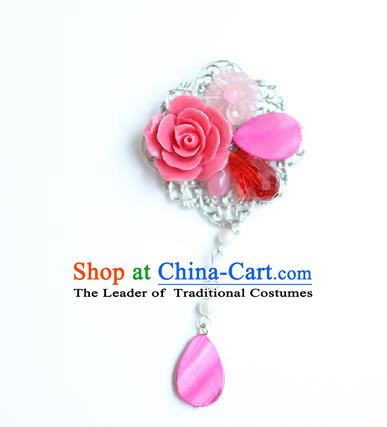 Korean National Accessories Pink Shell Flower Brooch, Asian Korean Hanbok Fashion Breastpin for Kids