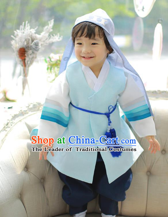 Asian Korean National Traditional Handmade Formal Occasions Boys Embroidery Light Blue Hanbok Costume Complete Set for Kids