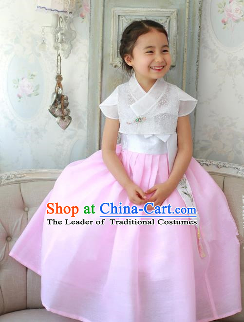 Asian Korean National Handmade Formal Occasions Embroidery White Blouse and Pink Dress Hanbok Costume for Kids