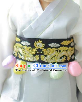 Traditional Korean Accessories Embroidered Dragon Black Waist Belts, Asian Korean Fashion Waistband Decorations for Kids