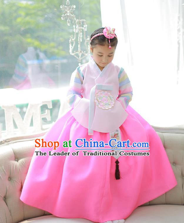 Asian Korean National Handmade Formal Occasions Embroidered Pink Blouse and Yellow Dress Palace Hanbok Costume for Kids
