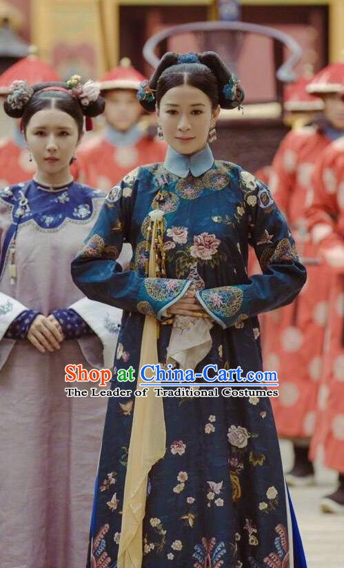 Story of Yanxi Palace Traditional Chinese Qing Dynasty Imperial Concubine Costume, Asian China Ancient Manchu Palace Lady Embroidered Clothing for Women