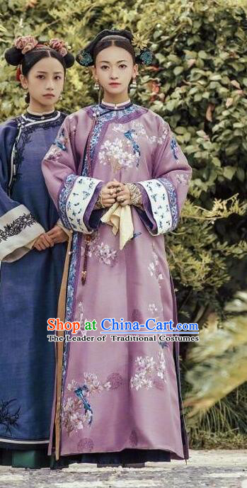 Story of Yanxi Palace Traditional Chinese Qing Dynasty Palace Lady Costume, Asian China Ancient Manchu Imperial Concubine Embroidered Clothing for Women