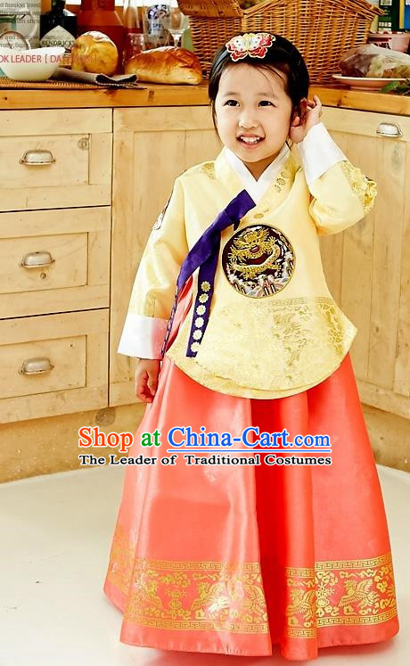 Asian Korean National Handmade Formal Occasions Wedding Embroidered Yellow Blouse and Red Dress Palace Hanbok Costume for Kids