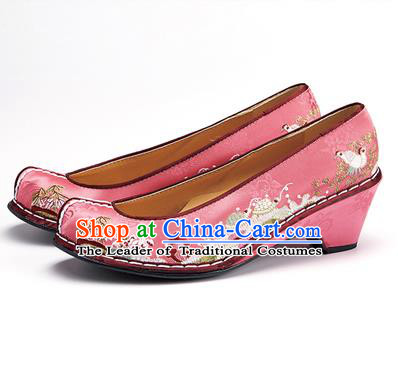 Traditional Korean National Wedding Shoes Embroidered Shoes, Asian Korean Hanbok Embroidery Pink Bride Court Shoes for Women