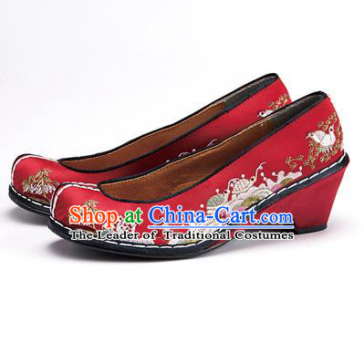 Traditional Korean National Wedding Shoes Embroidered Shoes, Asian Korean Hanbok Embroidery Dark Red Bride Court Shoes for Women