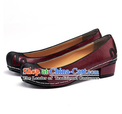 Traditional Korean National Wedding Shoes Embroidered Shoes, Asian Korean Hanbok Embroidery Wine Red Court Shoes for Women