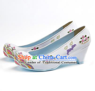 Traditional Korean National Wedding Shoes Embroidered Shoes, Asian Korean Hanbok Embroidery White High-heeled Court Shoes for Women