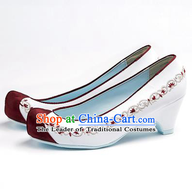 Traditional Korean National Wedding Shoes Red Head Embroidered Shoes, Asian Korean Hanbok Embroidery White High-heeled Court Shoes for Women